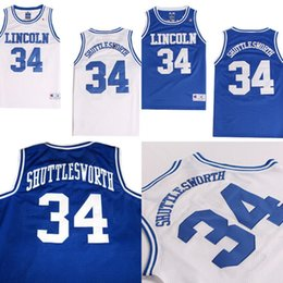 b15788a05ac5 Men He Got Game Movie Jersey Lincoln High School  34 Jesus Shuttlesworth  Blue Embroidered White Red Blue Big State Basketball Jerseys