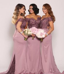 Bridesmaid Dresses Lace Tops Australia - Off Shoulder Lace Top Bridesmaid Dresses Long Mermaid Floor Length 2019 Fashion Wedding Prom Evening Gowns Custom Size