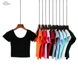 Best lady t shirts online shopping - Best Sell T Shirts Neck Sexy Crop Top Ladies Short Sleeve T Shirt Tee Short T Shirt Basic Stretch U Harajuku