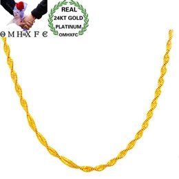Discount wedding gifts singapore - OMHXFC Wholesale European Woman Female Party Wedding Gift Long 45cm Wide 2mm Wave Real 18KT or 24KT Gold Chain Necklace