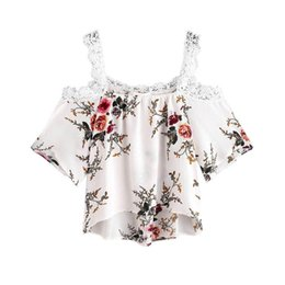 c153b633cc18 T Shirt Women Short Sleeve sexy Off Shoulder Lace Floral Casual summer crop  Tops T-Shirt Camisetas Mujer hot girl vest  5