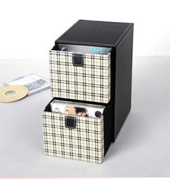 DvD cases storage online shopping - home layer drawer leather desk CD DVD sundries container storage box case organizer holder black white plaid