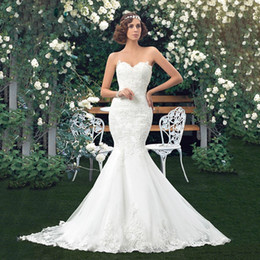 Custom Lace Up Charms Australia - Charming Lace Applique Mermaid Wedding Dresses 2019 Sweetheart Trumpet floor length vintage Beach Bridal Gowns Custom Made