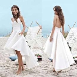 $enCountryForm.capitalKeyWord UK - High Low Short Beach Wedding Dresses A Line Vestido De Noiva Sexy Spaghetti Straps Cheap Summer Bridal Gowns