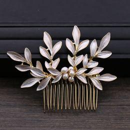 $enCountryForm.capitalKeyWord Australia - Bride Pearl Hair Combs Leaf Wedding Comb Pearl Hair Jewelry For Women Headdress Wedding Hair Decoration