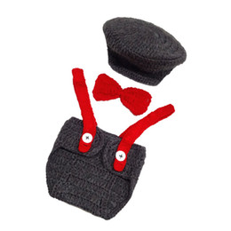 Handmade Suit Baby Australia - Newborn Grey Newsboy Outfits,Handmade Crochet Baby Boy Newsboy Hat,Diaper Cover,Bow Tie Set,Little Man Suit,Infant Photo Prop,Shower Gift