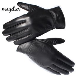 $enCountryForm.capitalKeyWord Australia - Magelier Genuine Leather Gloves for Men Real Sheepskin Black Finger Gloves Winter Warm Fashion Brand Mittens New Arrival 052