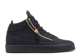 Dark Navy Shoes UK - Zanotti 2019 New For Men Party Designer Sneakers Lovers Genuine Leather High Top Studded Spikes Casual Flats Red Bottom Luxury Shoes
