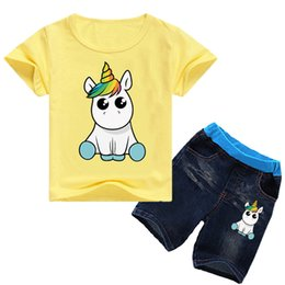 12y clothes 2019 - Unicorn Kids T-shirt + Shorts 2 Piece Sets 11 colors 1-12y Boys Girls Cartoon Printed kids clothing sets kids designer c