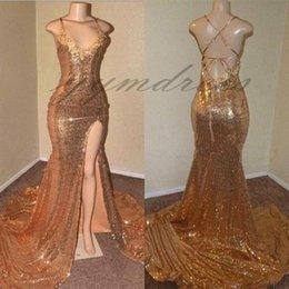 $enCountryForm.capitalKeyWord Australia - 2019 Gold Mermaid Prom Dresses Sexy V Neck High Split Sleeveless Sequined Formal Evening Gowns Celebrity Party Dresses