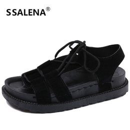 $enCountryForm.capitalKeyWord NZ - Womens Flat Platform Sandals Women Open Toe Roman Casual Shoes New Style Girls Summer Lace Up Sandals Shoes AA50288