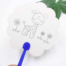 fan assembly Australia - Hot 5 Pcs DIY Paper Fan White Doodle Tool Art Painting Durable for Children Kids PAK55