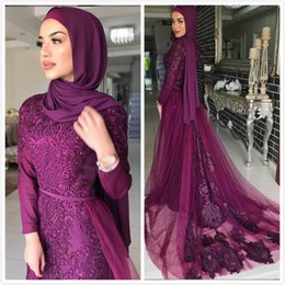 Chiffon Bridesmaid Dress Beaded Sleeves Australia - Purple Lace Mermaid 2019 Muslim Prom Dresses Long Sleeves Beaded Chiffon Evening Dresses Vintage Sexy Formal Party Bridesmaid Pageant Gowns