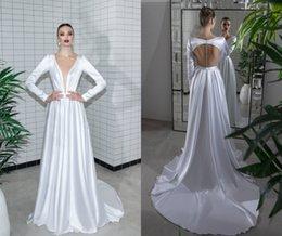 $enCountryForm.capitalKeyWord NZ - Wedding Dresses Long Sleeves Deep V Neck Taffeta A Line Bohemian Wedding Dress Backless Custom Made Cheap Bridal Gowns