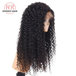 $enCountryForm.capitalKeyWord Australia - Honrin Hair Kinky Curly Full Lace Wig Malaysian Virgin Human Hair Lace Front Wig Curly Pre Plucked Hairline Bleached Knots 180% Density