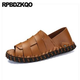 1aac696be105 Fashion Sneakers Designer Breathable Men Sandals Leather Summer Runway  Strap White Closed Toe Slip On Outdoor Brown Shoes 2018