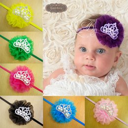 Wholesale Girls Shabby Flower Headband Bling Rhinestone Crown Hairband For Kids Pearl Tiara Hair Accessories