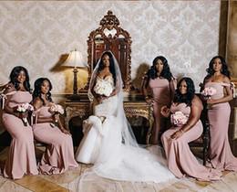 $enCountryForm.capitalKeyWord Australia - 2019 Blush Mermaid Bridesmaid Dresses Off Shoulder Sweep Train African Garden Country Beach Wedding Guest Gowns Maid Of Honor Dress Cheap