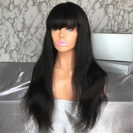 $enCountryForm.capitalKeyWord Australia - New Arrival Peruvian Human Hair Full Fringe Wig Human Hair Glueless Full Lace Wig With Bangs Bleached Knots For Black Women