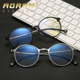 Computer Eyewear Glasses Australia - Aoron Blue Light Computer Glasses Frame Gaming Glass Spectacle Women Men Of Metal And Vintage Eyeglasses Round Full-rim Eyewear