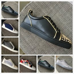 Gold Spiked Red Bottom Australia - New Men Women Red Bottom Shoes Black Leather With Gold Ends Low Top Sneakers,Designer Brand Gold Spikes Toe Casual Shoes 35-47