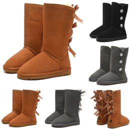 2a35f21075b Grey knee hiGh boots lace up online shopping - Winter Tall Boots WGG Bowtie  Crystal Women