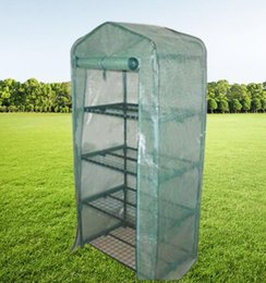 Cover shelf online shopping - Garden Greenhouses Shelves Green house Foldable Iron tube With PE mesh cloth cover Greenhouse Portable Mini Outdoor Fower House GGA2183