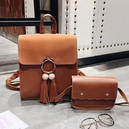 $enCountryForm.capitalKeyWord Australia - Designer-2 PCS SET Brand Designer Women Backpack School Bag High Quality Tassel Shoulder Bag Fashion Vintage Knapsack For Teenage Girls