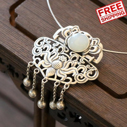 $enCountryForm.capitalKeyWord Australia - 925 Pure Silver Natural Hotan Jade Peony Flower Tassels pendant necklace Pendeloque Cut Nation Wind Temperament Grace