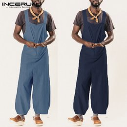 Overall Suits Australia - Harajuku Cotton Men Rompers Half Sleeve Button Pants Vintage Casual Solid Man Jumpsuit Trousers Summer Men Work Suits Overalls