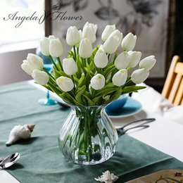 $enCountryForm.capitalKeyWord Australia - Free shipping 31PCS LOT pu mini tulip flower real touch wedding flower bouquet artificial silk flowers for home party decoration C18112601