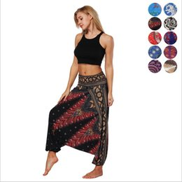 yoga pants dancing UK - Women Bohemian National Casual Digital Print Belly Dance Loose Wide Legs Lantern Pants Yoga Pants Fitness Pants Designer Girl Sweatpants
