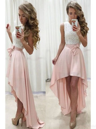 Little Girls White Lace Dresses Australia - Pink White High Low Homecoming Prom Dresses 2019 Jewel Neck Lace Chiffon Simple Junior Girls Occasion Prom Party Gown Cheap