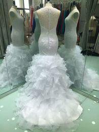 $enCountryForm.capitalKeyWord Australia - Exquisite Scoop Sleeveless Mermaid Wedding Dresses Fish Tail wedding dresses bridal gowns Tiers vestidos de noiva Sequin Bridal Gown