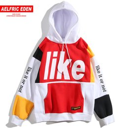 embroideries sweatshirts UK - Aelfric Eden Color Patchwork Hoodies Sweatshirts Man Letter Embroidery 2018 Winter Warm Pullover Hoodie Hip Hop Streetwear KJ353
