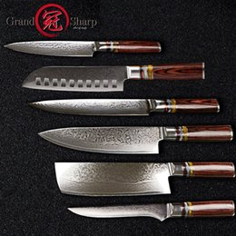 Wholesale 6 Chef Knife Set Professional Chef s knives VG10 Japanese Damascus Steel Best Family Gift Japanese Damascus Kitchen Knives GRANDSHARP
