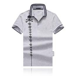 Contrast Collar polo online shopping - 19SS Summer s Newest Fashion Crossbones Head Print Cotton Lapel Collar Designer T shirt Striped Lapel Designer Polo Shirt Men