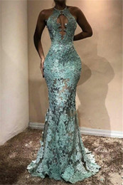 nigeria lace fashion style NZ - African Lace Mermaid Evening Dresses Sexy Backless Long Evening Gowns Halter Appliques Nigeria Prom Gowns Aso Ebi Style
