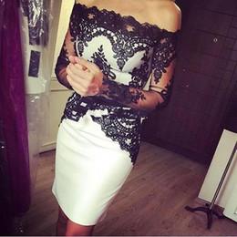 $enCountryForm.capitalKeyWord Australia - Short White and Black Cocktail Dresses Long Sleeve Off Shoulder Lace Satin Sheath Mini Fashion Party Gowns Custom Size