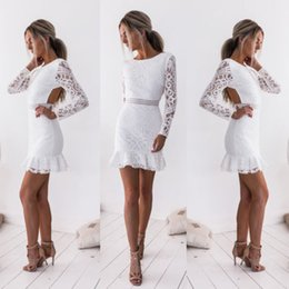 $enCountryForm.capitalKeyWord Australia - New Fashion White Lace Dress Women Sexy Long Sleeve Backless Dress Evening Party Short Mini White Bodycon Clubwear