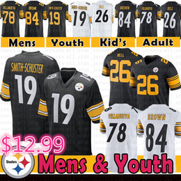 353b5d08ac3 19 Juju Smith-Schuster Steelers Jersey Mens Youth Pittsburgh 84 Antonio  Brown 78 Alejandro Villanueva 26 Le'Veon Bell Steelers Football Kids