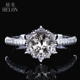 diamond wedding ring mounts UK - HELON Round Cut 7-8mm Solid 14K White Gold 0.39ct Natural Diamonds Exquisite Flower Semi Mount Wedding Women Trendy Jewelry Ring S200117