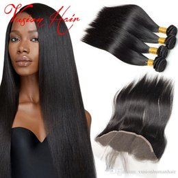 cheap black hair weave extension Australia - 4 bundles Straight human hair with 1 bundle lace frontals unprocessed Brazilian Virgin Hair natural black cheap hair weaves extensions sale