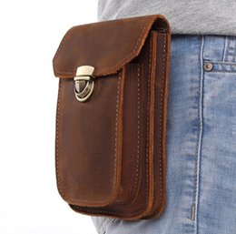 Wholesale Waist Leather NZ - NEW Genuine Leather Vintage Waist Packs Men Travel Fanny Pack Belt Loops Hip Bum Bag Waist Bag Mobile Phone Pouch