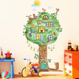 Cartoon Stick Wall NZ - Cartoon Tree House Vinyl Wall Stickers for Kids room Kindergarten Baby room Wall Decoration Home Decor Art Decals Mural dc8