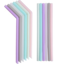 Vente en gros nouveau silicone paille à boire multi-couleur réutilisable paille de silicone plié Bent Straight Straw Accueil Bar Accessoire tube de silicone T2I5242