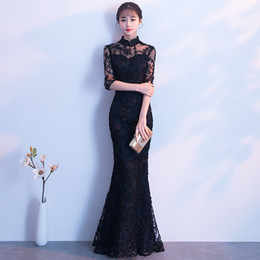 Sexy Black Lace Evening Dress Female Long Cheongsam Slim Chinese Traditional Dress Women Qipao for Wedding Party