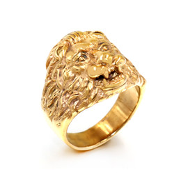 Stainless Steel Indian Head Rings Australia - Male Fashion High Quality Animal stone ring Men's Lion Rings Stainless Steel Rock Punk Rings Men Lion's head Gold Jewelry Wholesale