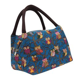 Fabric Bag Owl Australia - Lunch Bag Owl Printed Thermal Insulated Pouch Oxford Fabric Picnic Storage Tote Cooler Handbag Kids Women Men Work Lunch Box