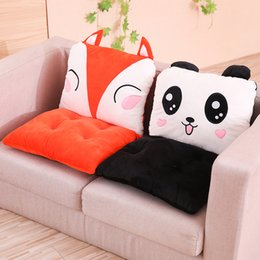 dinosaur suit adults Australia - Cartoon Animals Seat Cushion Plush Pillows Lumbar Pillow Detachable Panda Whale Fox Corgi Anti-slip Hands Warm Holes Kids Adults